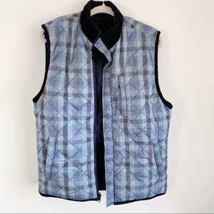 Southern Marsh Quilt Navy Plaid Reversible Vest M